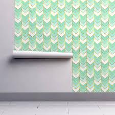 Herringbone Line Wallpaper Beige Peel by Gilded Ombre Herringbone In Mint Wallpaper Willowlanetextiles