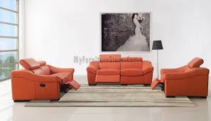 Orange Living Room Set Modern Genuine Italian Orange Leather Living Room Set 8021 By Esf