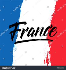 Flag Of Franc Brush Painted Abstract Flag France Lettering Stock Vector