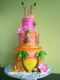 i love the idea and pattern for this hawaiian cake tiered