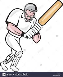 illustration of a cricket player batsman with bat batting done in