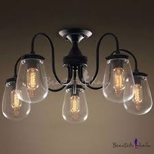 industrial flush mount light vintage globe glass 5 lights teardrop led ceiling l