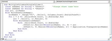 how to combine multiple columns into single column using vba in