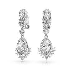 dangly earrings teardrop gatsby inspired cz chandelier clip on dangle earrings