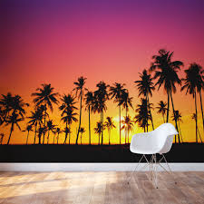 palm tree sunset wall mural