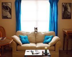 White Curtains With Blue Trim Decorating Blue Curtains On The Hook And Beige Fabric Sofa With Seat