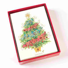 ombre garland tree boxed cards set of 12 boxed