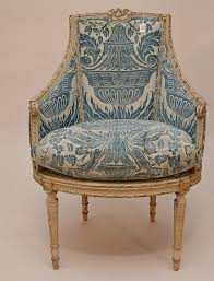 Chair Upholstery Prices Painted French Arm Chair With Blue Fortuny Fabric 41 U0027h Antique