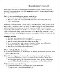 Resume Summary Statement Examples by Summary Of Qualifications Resume Summary Of Qualifications On