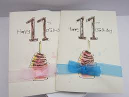 11th birthday card watercolour card birthday cards personalise
