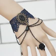 wholesale gothic big gem stone black lace bracelets women fashion