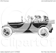 vintage convertible clipart women riding in a retro black and white vintage