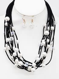 multi layered black necklace images Faux pearl cluster multi layered suede necklaces set 57 pne6596 jpg