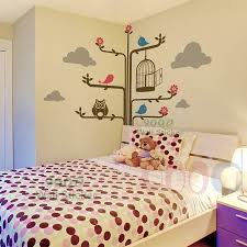 decorative wall stickers big cartoon tree and owl diy home