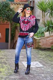 plaid ethnique chic monki fringe sweater ethnic casual look fashion and cookies