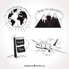 travel phrases images Set of travel drawings with phrases vector free download jpg