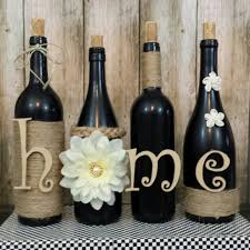 Wine Home Decor Decorated Wine Bottles Hand Painted Set Of Wine Bottles