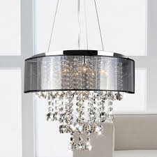 Chandelier With White Shade Flushmount 4 Light Chrome And White Crystal Chandelier