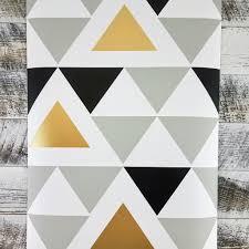 Peel And Stick Wallpaper Reviews by Aztec Black U0026 Gold Geometric Triangle Peel And Stick Wallpaper U2013 D