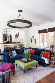 Blue Velvet Sectional Sofa by Transitional Living Room With Round Chandelier And Blue Blue