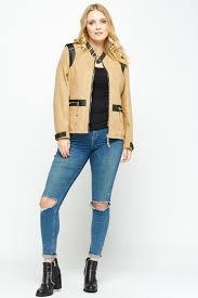 biker coat contrast suedette biker jacket light brown or beige just 5