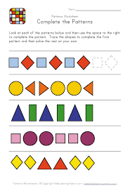 complete the pattern worksheet worksheets
