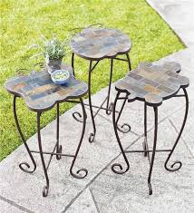 Iron Accent Table Slate Butterfly Ladybug And Turtle Outdoor Accent Tables With