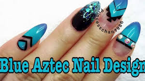 acrylic nails blue aztec nail design youtube