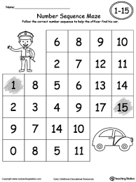practice number sequence with number maze 1 15 maze worksheets