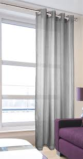 Grey And Silver Curtains Voile Panels Leona Silver Eyelet Voile Panel