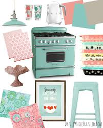 easy ways to create a rad and retro kitchen ideas smeg chrome 1 7l kettle amazon paint swatches by sherwin williams coral bead sw6873 holiday turquoise sw 0075 amazing gray sw7044 kitchen