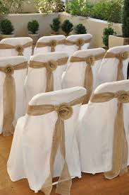 burlap chair sash burlap lace ribbons on back of white chairs for ceremony wedding