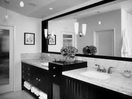 black and white modern bathroom wall beside window with blue