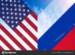 Eussian Flag Single American And Russian Flag In Shape Of Letter V U2014 Stock