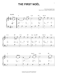 the first noel piano sheet music by christmas carol easy piano