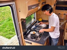 family vacation rv holiday trip man stock photo 127896494