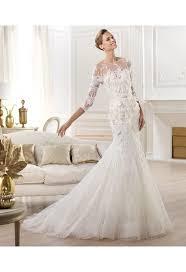 robe sirene mariage robe de mariée sirène avec manches 3 4 dentelle fleurs