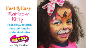fast easy rainbow kitty face painting tutorial youtube