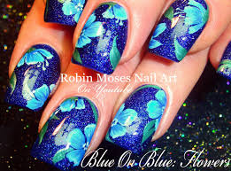 blue flower nails navy floral nail art design tutorial youtube