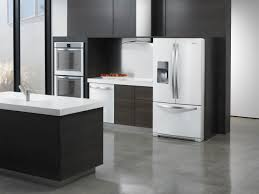 black and white appliance reno kitchen elegant white ice refrigerator with cool wooden cutting