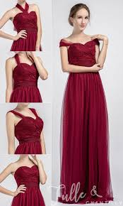 convertible bridesmaid dresses tulle and lace wine convertible bridesmaid dresses tbqp334