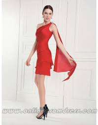 one shoulder red short modest simple wholesale casual prom dress