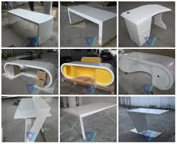 White Gloss Meeting Table U Shape Long 10 Seat Marble Top High End Luxury White Modern