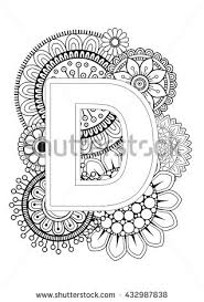 doodle floral letters coloring book stock vector 432987838
