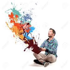 paint man man opening a book and coming out paint stock photo picture and