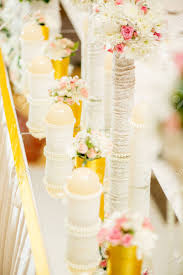table decorations with candles and flowers wedding table decoration with candle flowers and glassware stock