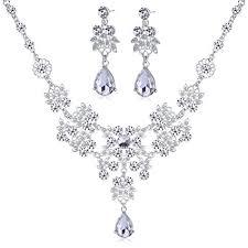 bridal jewelry necklace earrings images Dxhycc silver alloy rhinestone earrings crystal jpg