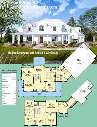 farmhouse plan plan 62668dj modern farmhouse with angled 3 car garage