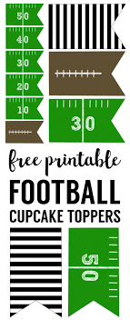 football party decorations football cupcake toppers free printable paper trail design