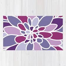 Flower Area Rug Purple Flower Area Rug Abstract Flower Rug Purple Violet
